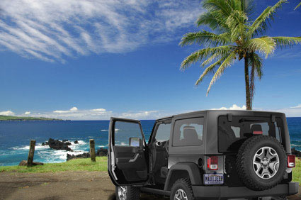 Jeep Wrangler parked on the beach