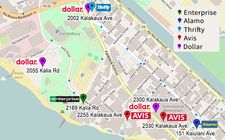Jeep rental locations in central Waikiki
